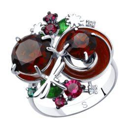 Кольцо из серебра с рубином и