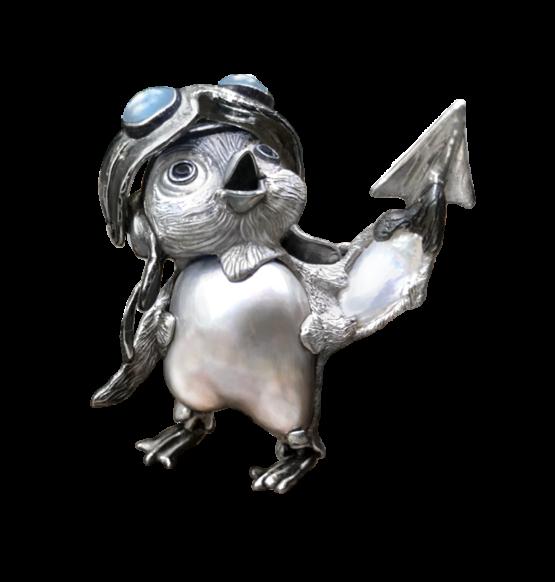 """Серебряная подвеска """"Пингвинёнок-пилот Айси Берг"""""""