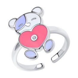 Серебряное кольцо с эмалью 94013183