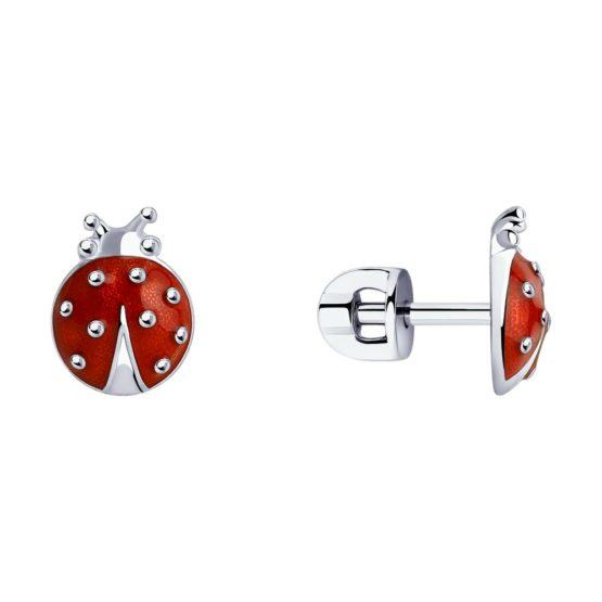 Серебряные серьги с эмалью 94020529